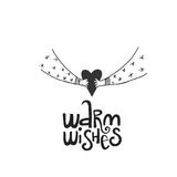 Warm wishes lettering with heart in hands. Hand drawn Christmas lettering. Cute New Year phrase. Vector illustration.  Royalty Free Stock Image