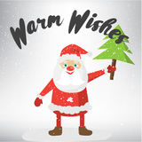 Warm Wishes post card template. Vector Illustration of Santa Claus. Stock Images