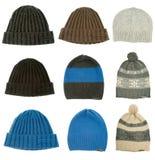 Warm woman winter hats stock image