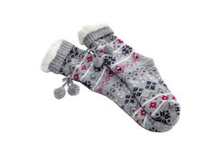 Warm women`s socks. Warm, winter women& x27;s socks with a pattern close up on a white background Stock Images
