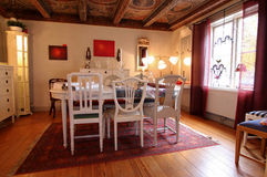 Warm Wooden Dining Room. In classic style royalty free stock image