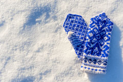 Warm woolen mittens with beautiful pattern Stock Image
