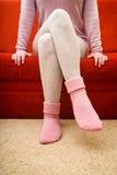 Warm woolen socks Stock Photos