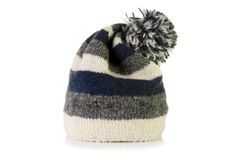 Warm woolly hat. On a white background Royalty Free Stock Images