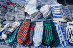 Warm woven knit wool woollen sox socks market fair Royalty Free Stock Photography