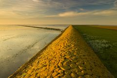 A warm yellow dike at the Waddensea Royalty Free Stock Photos