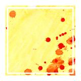 Warm yellow hand drawn watercolor rectangular frame background texture with stains. Modern design element royalty free stock photos