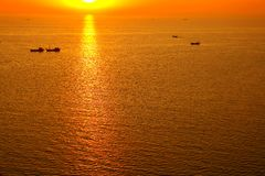 Warm and Yellow Sunset Stock Photo