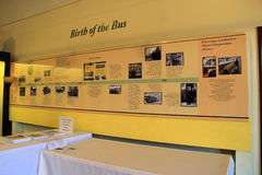 Warm yellow walls with timeline of the birth of the bus,Seashore Trolley Museum,Kennebunkport,Maine,2016 Stock Photo