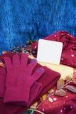 Warme Burgunder-Handschuhe mit einem Schal und einem Hut auf blauer Farbe des hölzernen Hintergrundes mit Herbstlaub und verringe Stockfotos