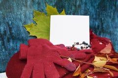 Warme Burgunder-Handschuhe mit einem Schal und einem Hut auf blauer Farbe des hölzernen Hintergrundes mit Herbstlaub und verringe Lizenzfreie Stockbilder