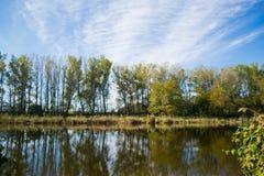 Warme de herfstdag op een mooie rivier stock foto's