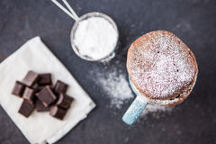 Warme die chocoladecake in een mok met suikerglazuursuiker wordt bestrooid Stock Foto