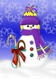 Warme en Comfortabele Sneeuwman Stock Afbeeldingen