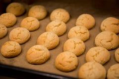 Warme, gouden bruin, de koekjes die van de pindaspaander op een rek koelen Koekjes in de oven, broodjesbroodjes Royalty-vrije Stock Foto's