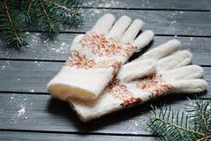 Warme Handschuhe oder Handschuhe mit Tannenzweigen auf hölzernem Hintergrund Lizenzfreies Stockbild