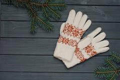 Warme Handschuhe oder Handschuhe mit Tannenzweigen auf hölzernem Hintergrund Stockfotografie