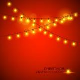 Warme het Gloeien Kerstmislichten Royalty-vrije Stock Afbeeldingen
