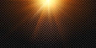 Warme lichte stralen De magische gloed van de lichtenlens, de zonflits en de lampgloed isoleerden vectorillustratie royalty-vrije illustratie