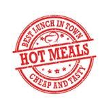 Warme Mahlzeiten, bestes Mittagessen in der Stadt, billig und geschmackvoll stock abbildung