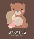 Warme omhelzing met grote beer Stock Afbeelding