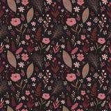 Warme Palette des nahtlosen mit Blumenmusters Farb Laubblumenzusammensetzung lizenzfreie abbildung