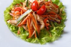 Warme salade met geroosterde kip en groentenmacro Stock Afbeeldingen