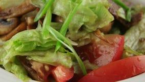 Warme salade met kalfsvlees en geroosterde paddestoelen, close-up stock video