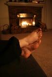Warme Scène die - door de Brand rust. Stock Foto