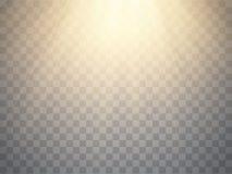 Warme stralen van geïsoleerd licht Gouden schijnwerper Vector royalty-vrije illustratie