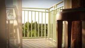 Warme Tropische Wind Blazende Gordijnen Op Balkon Stock Footage ...