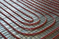 Warme vloer Het het leggen proces Stock Afbeeldingen