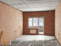 Warme vloeren die beton gieten royalty-vrije illustratie