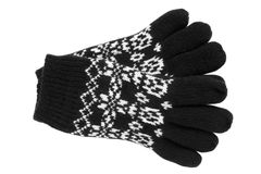Warme wollen gebreide handschoenen Stock Foto
