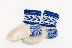 Warme wollen sokken hand kleverig Royalty-vrije Stock Afbeeldingen