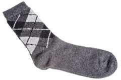 Warme wollen sokken met een patroon van diamanten Stock Afbeelding