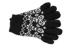 Warme woolen gestrickte Handschuhe Stockfoto