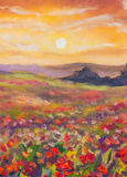 Warme zonsondergang op bergen artistieke het schilderen achtergrond Royalty-vrije Stock Foto