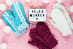 Warmer, gemütlicher Winterkleidungshut, Handschuhe, lightbox und Weihnachtsdekorationen als Rahmen auf rosa Pastellhintergrund stockfotos
