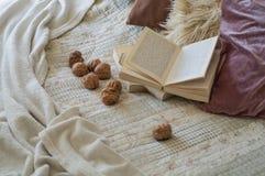 Warmer Innenraum des Wohnzimmers mit einem offenen Buch mit Walnüssen Gelesen, Restwinter-Wochenendenkonzept Gemütliches Herbst-  stockbilder