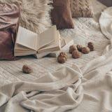 Warmer Innenraum des Wohnzimmers mit einem offenen Buch mit Walnüssen Gelesen, Restwinter-Wochenendenkonzept Gemütliches Herbst-  lizenzfreie stockbilder