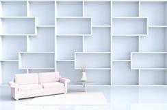 Warmer Reinraumdekor mit Fliesenboden, Teppich, Niederlassung, Sofa stockbild