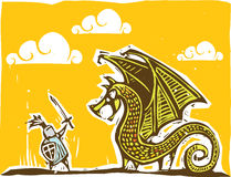 Warmer Ritter und Drache Stockbilder