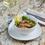 Warmer Salat mit Aal und Reis Lizenzfreies Stockbild