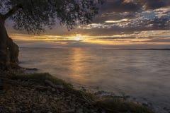 Warmer Sonnenuntergang auf dem Bodensee Lizenzfreies Stockfoto