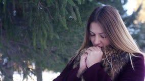 Warmes hermosos de la muchacha sus manos con su boca en el bosque del invierno metrajes