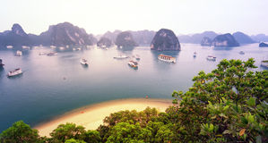 Warmes Sonnenlicht in Halong-Bucht Vietnam bei Sonnenaufgang Lizenzfreie Stockfotos