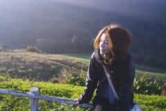 Warmes Sonnenlicht am kalten Tag Stockfotos