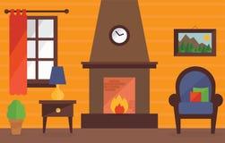 Warmes und angenehmes Wohnzimmer Stockfotografie