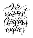 Warmest Christmas Wishes hand lettering inscription for winter holidays greeting card. Christmas banner, poster calligraphy text. Quote, vector illustration stock illustration